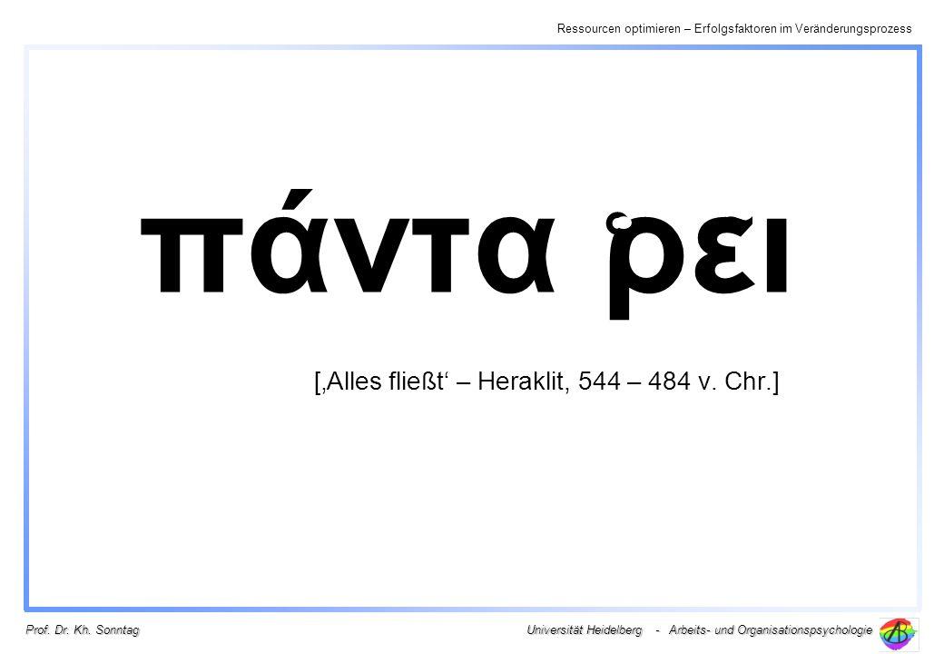 πάντα ρει ['Alles fließt' – Heraklit, 544 – 484 v. Chr.]